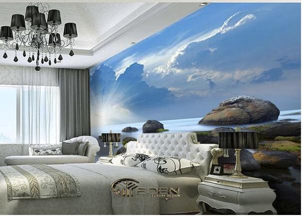 Giấy decal phong cảnh đẹp cho phòng ngủ