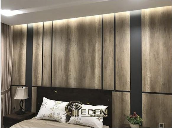 Vách ốp đầu giường sử dụng gỗ Melamine