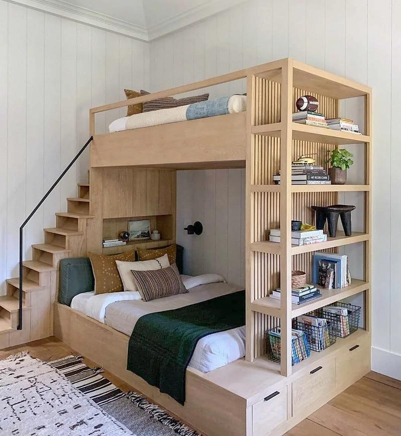 Mẫu giường tầng đa năng kết hợp với kệ trưng bày