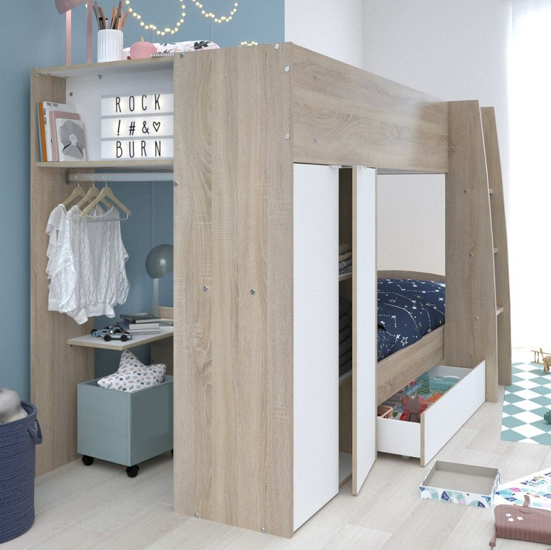 Mẫu giường tầng đa năng kết hợp tủ quần áo