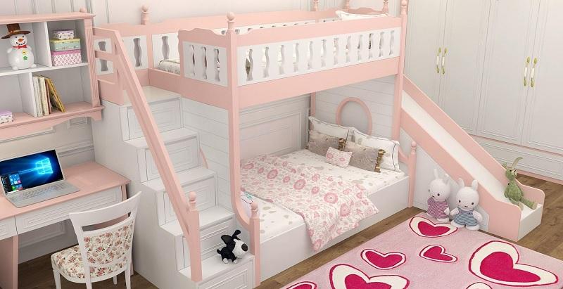 Mẫu giường tầng có cầu trượt, khu vui chơi cho bé gái