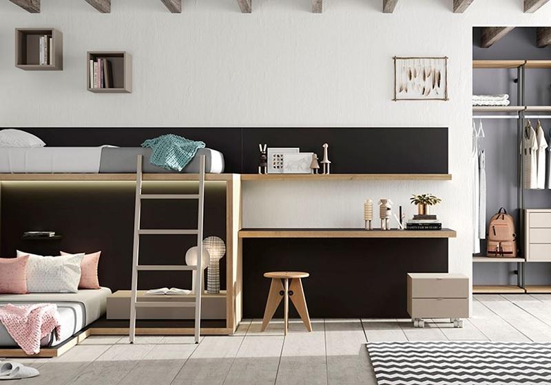 Mẫu giường 2 tầng với thiết kế phòng ngủ tối giản giúp bé rèn luyện tính gọn gàng, ngăn nắp