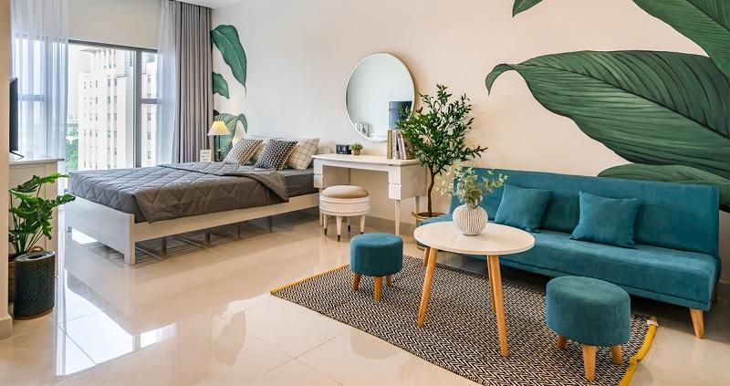 khi sắp xếp cây xanh đặt trong phòng ngủ sẽ giúp cho giấc ngủ sâu hơn và yên bình hơn.