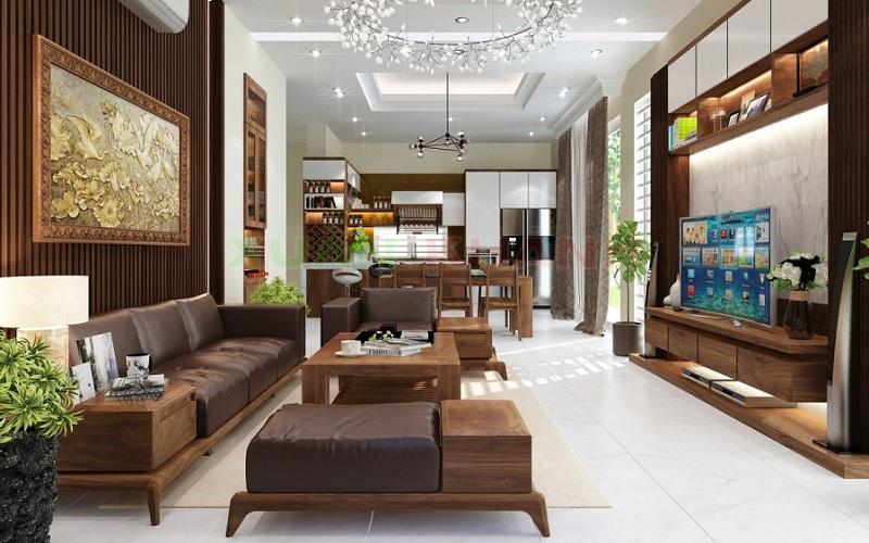 Nội thất bàn ghế gỗ tự nhiên được khác họa tinh xảo