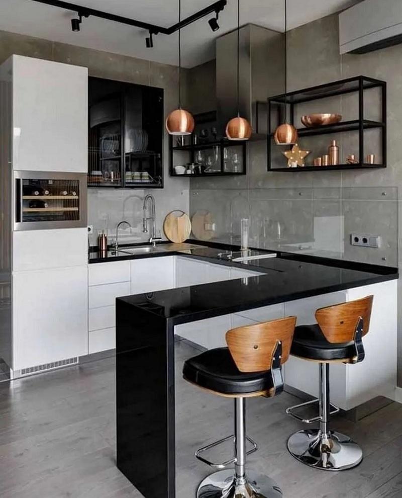 Mẫu thiết kế, thi công bếp chung cư với quầy bar mini