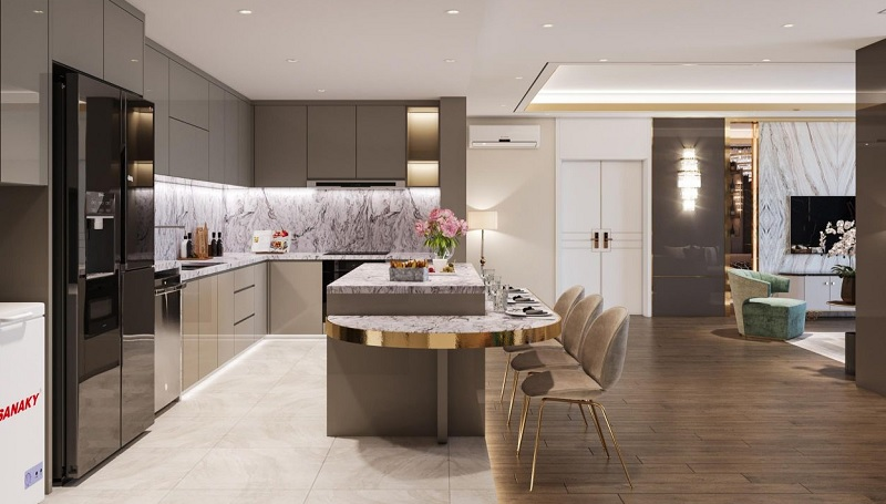 Mẫu thiết kế bếp chung cư cao cấp