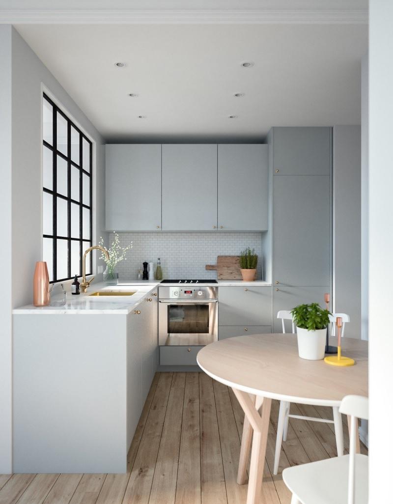 Mẫu thiết kế bếp chung cư độc đáo với gam màu xanh nhẹ nhàng