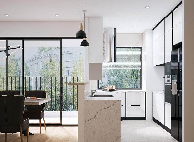 Mẫu thiết kế bếp chung cư cao cấp, sang trọng với lối thiết kế tận dụng ánh sáng tự nhiên
