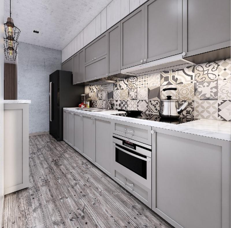 Mẫu thiết kế bếp chung cư cao cấp, sang trọng