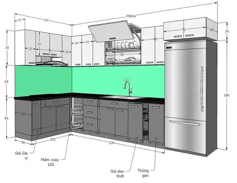 """Kích thước tủ bếp chung cư dáng """"L"""" chuẩn"""