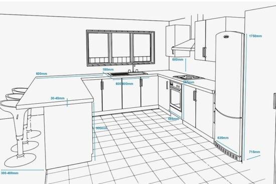 Kích thước tủ bếp chung cư kết hợp quầy bar