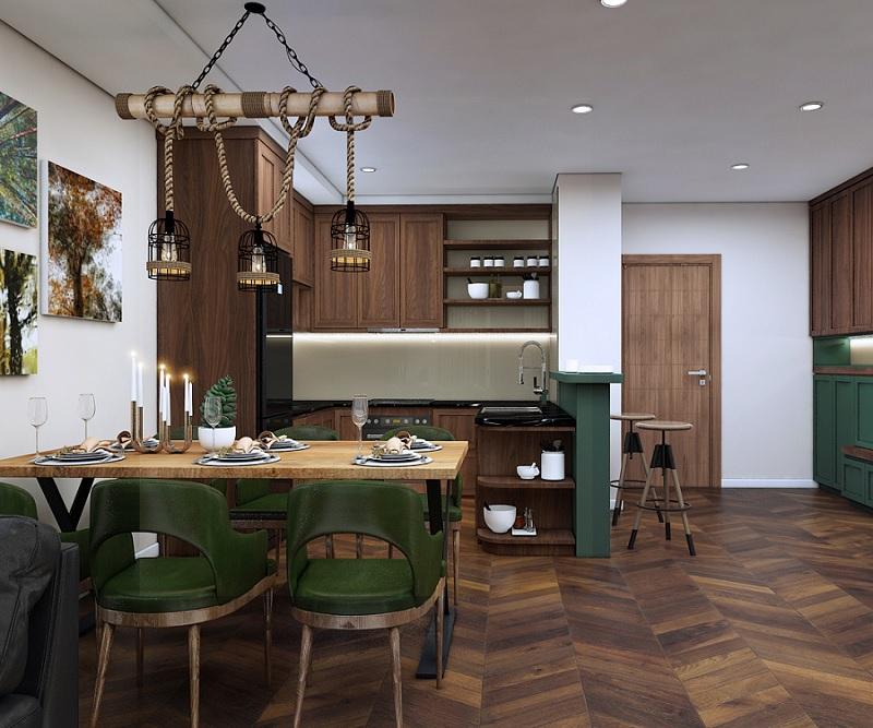 Tủ bếp chất liệu gỗ tự nhiên thường có mẫu mã đẹp với những đường nét được điêu khắc từ các thợ thủ công chuyên nghiệp