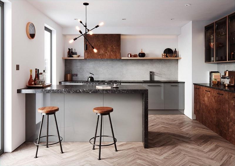 Đối với các cặp vợ chồng trẻ thì mẫu tủ bếp kết hợp với quầy bar mini sẽ là một sự lựa chọn thú vị và hấp dẫn