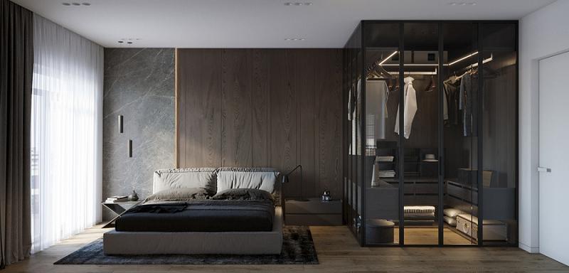 Phòng thay đồ tối giản, tinh tế