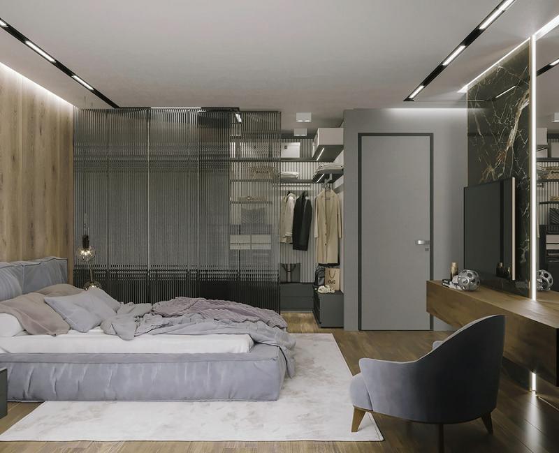 Phòng thay đồ cửa lùa tiết kiệm không gian, thuận tiện cho việc di chuyển