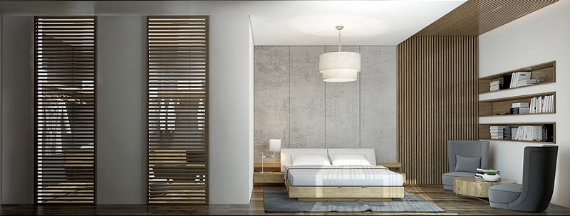 Phòng thay đồ cửa chớp mang đến cảm giác hiện đại pha chút cổ điển ấm áp