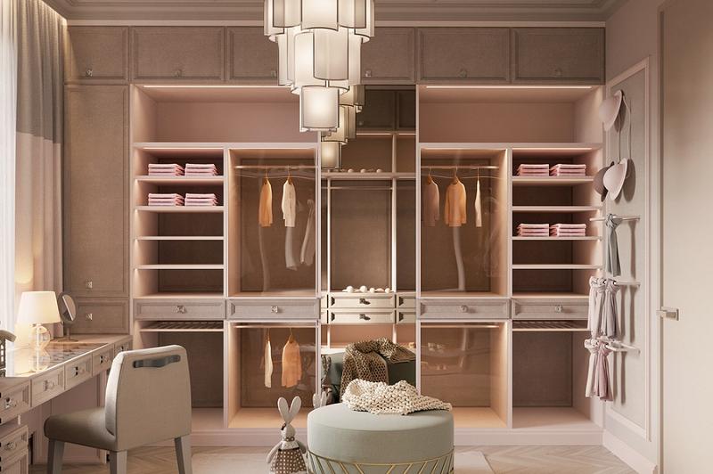 """Phòng thay đồ cho """"nàng thơ"""" với một chút màu hồng mơ mộng"""