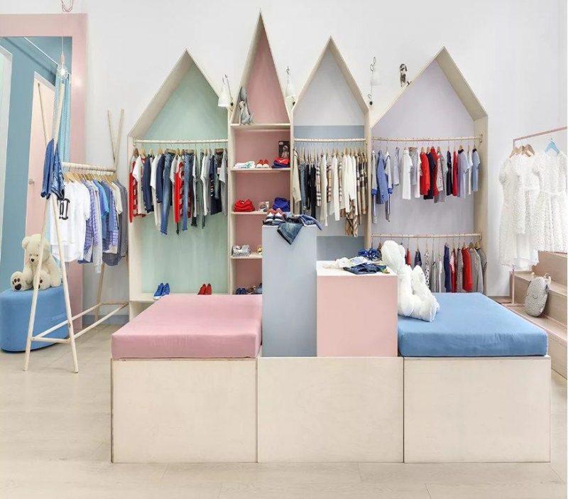 thiết kế shop quần áo trẻ em phong cách bắc âu