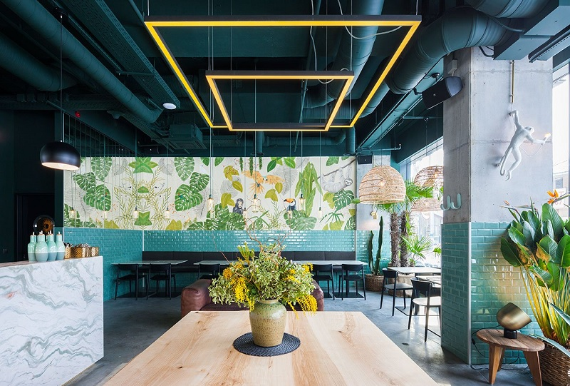 Thiết kế nội thất nhà hàng theo phong cách Xanh 3