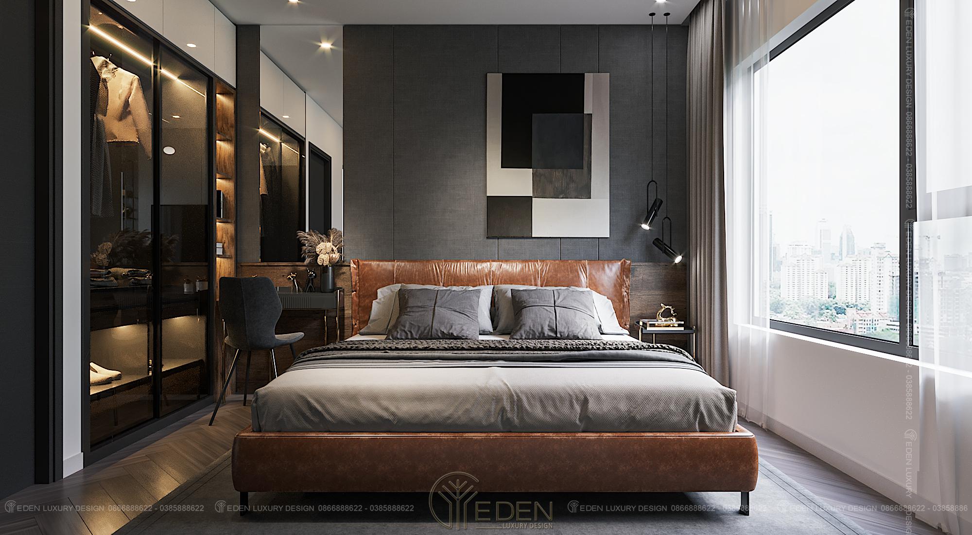Thiết kế nội thất phòng ngủ lớn chung cư 60m2