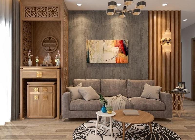 Màu sắc dành cho bàn thờ nhà chung cư phải kể đến đó là những gam màu trầm để thể hiện sự sang trọng, thiêng liêng