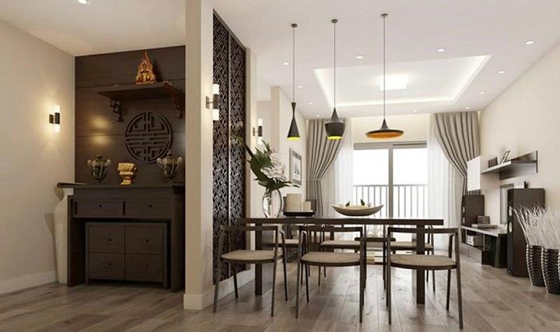 Đối với các chung cư, gia đình hoàn toàn có thể sử dụng tủ bàn thờ để thể hiện sự tôn nghiêm, trang trọng.