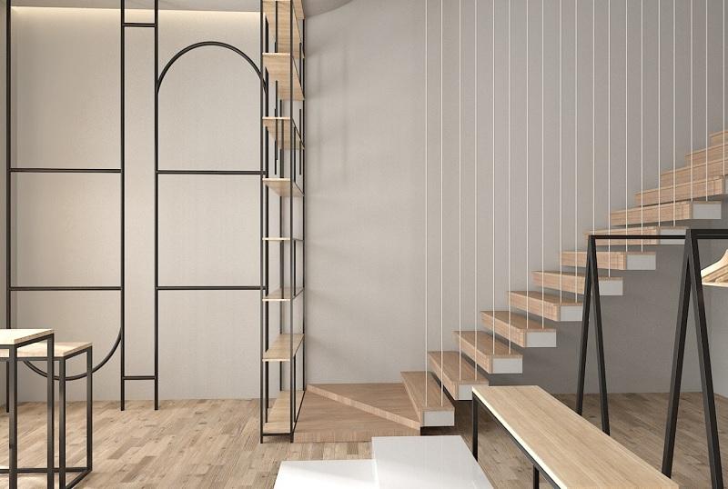Mẫu thiết kế cầu thang gỗ đẹp với dây cáp treo