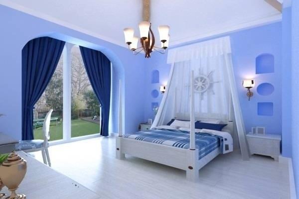 Không gian phòng ngủ với mùa sơn xanh đẹp cuốn hút, phù hợp với gia chủ mệnh thủy