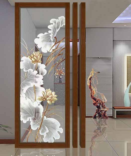 Decal dán kính hoạ tiết hoa sen sang trọng