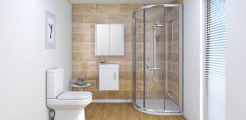 Bố trí khu vực tắm, lavabo,… hợp lý gọn gàng