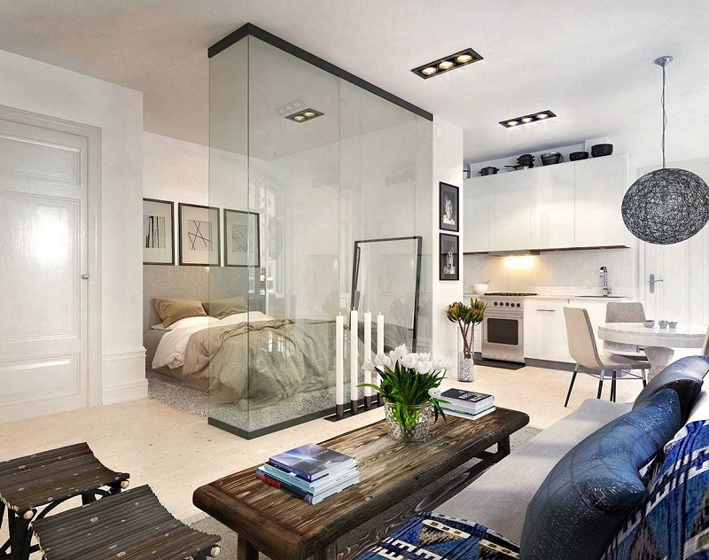 Lựa chọn các trang trí căn hộ chung cư với các vách ngăn kính
