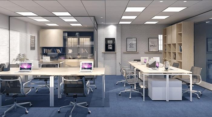 Văn phòng nhỏ được thiết kế phân chia theo các đội, nhóm