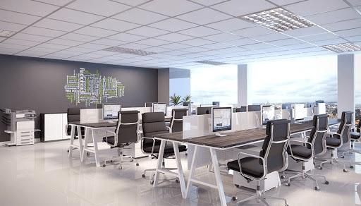 Không gian văn phòng hiện đại, tràn ngập ánh sáng với thiết kế không gian mở