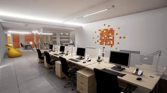 Nội thất thông minh được sắp xếp khoa học trong không gian văn phòng
