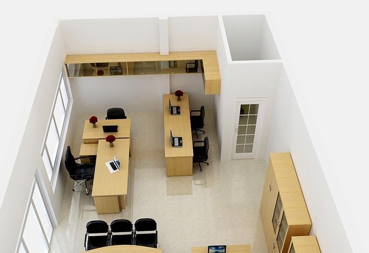 Không gian văn phòng nhỏ gọn gàng với nội thất được sắp xếp phù hợp