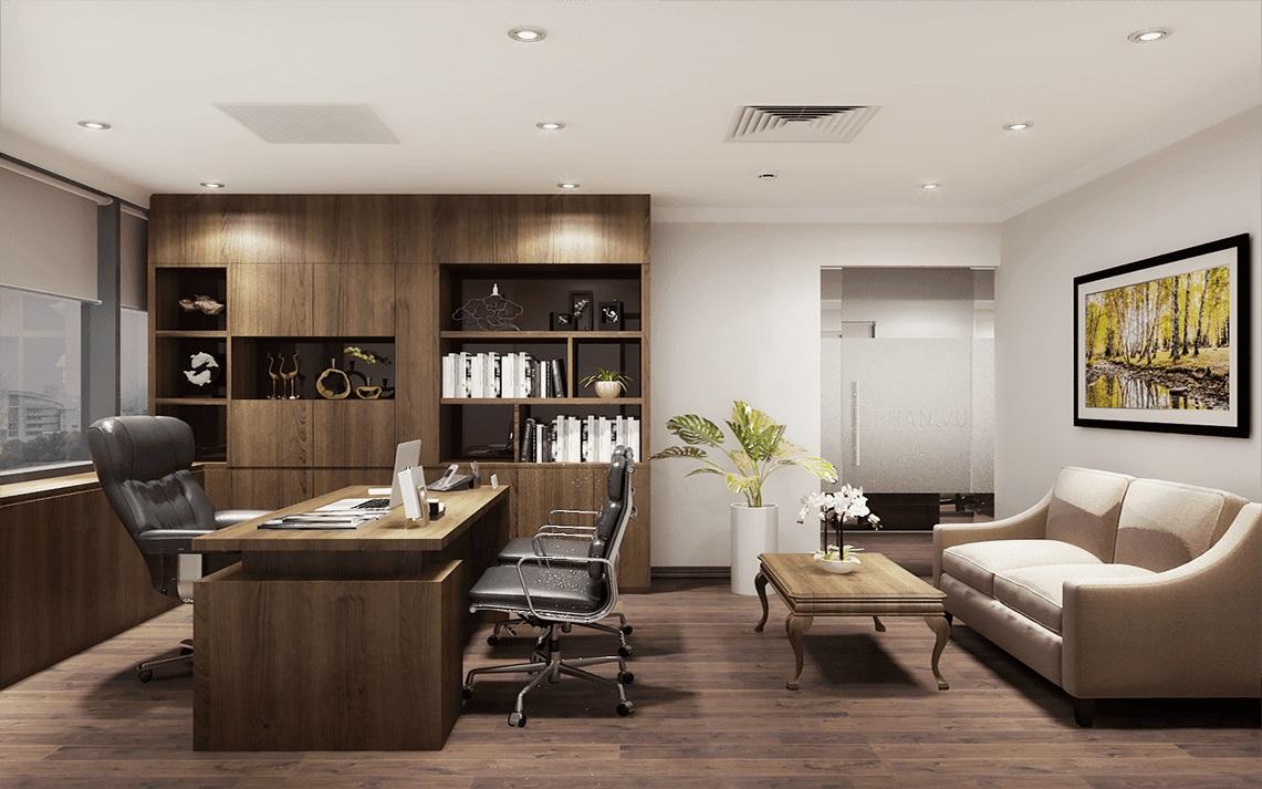 Thiết kế văn phòng nhỏ đơn giản mà đẹp với nội thất gỗ bắt mắt