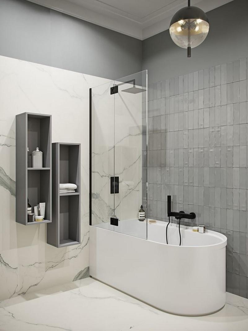 Mẫu phòng tắm đẹp với gam màu xám - trắng hài hòa