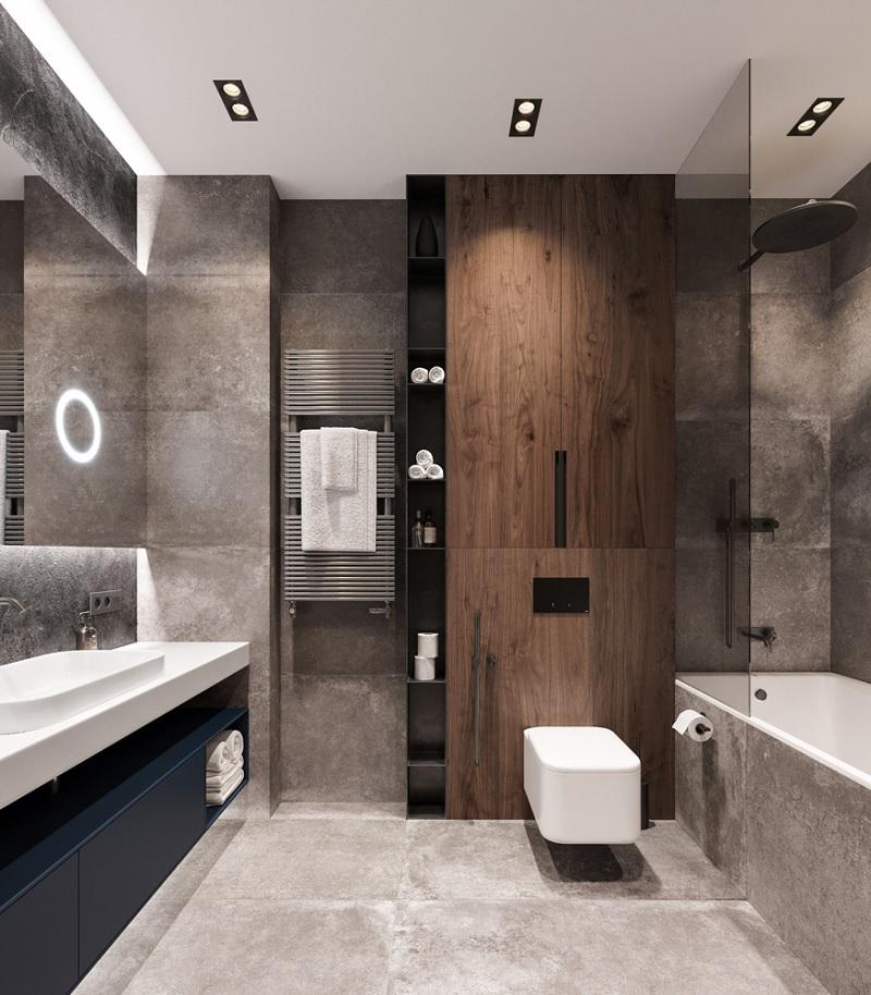 Mẫu phòng tắm đẹp với gam màu nâu - xám mạnh mẽ