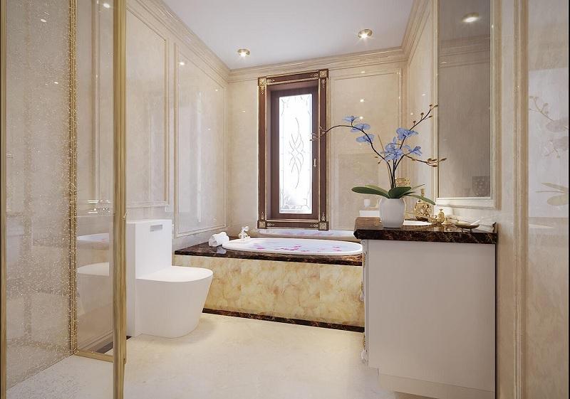 Phong cách phòng tắm tân cổ điển hiện lên với sự ấm áp, sang trọng và không bao giờ lỗi thời.