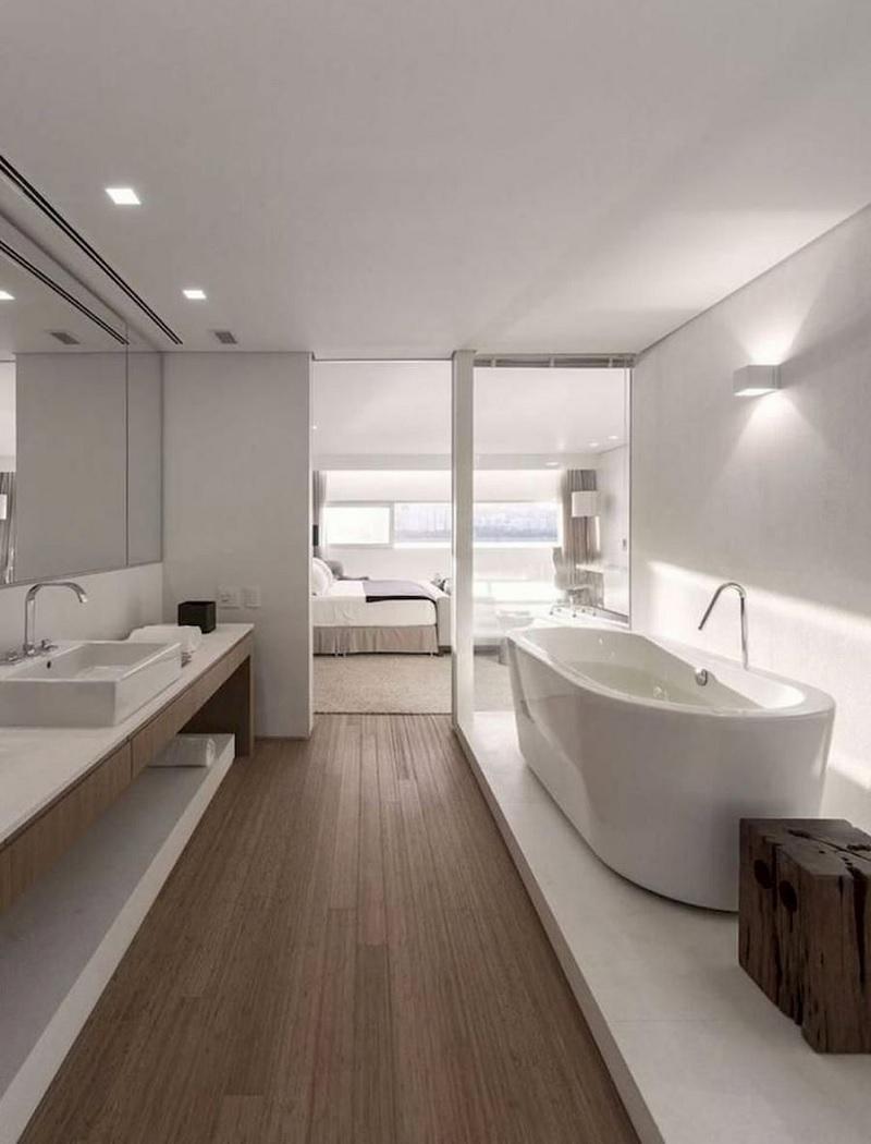 Để hạn chế sự bí bách của căn phòng, xu hướng phong cách phòng tắm mở cũng dần trở thành sự lựa chọn của nhiều gia đình Việt.