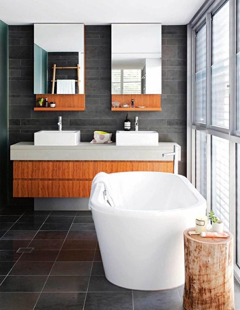 Mẫu phòng tắm đẹp với gam màu xám - cam san hô. Vừa giúp phòng tắm có cảm giác thư thái nhưng vẫn đảm bảo sự ấn tượng với gam màu cam