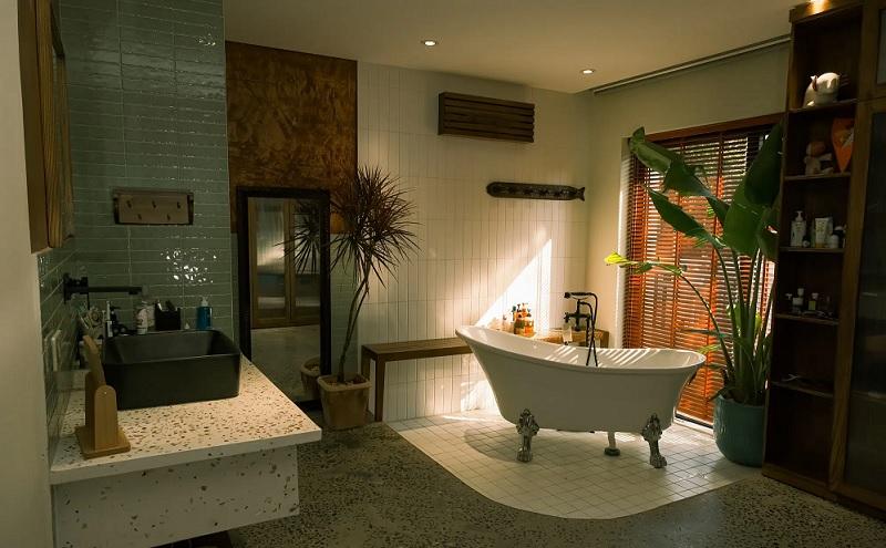 Trong tổng thể không gian lớn, gia chủ có thể mạnh rạn thiết kế thêm bàn trang điểm ngay trong phòng vệ sinh.