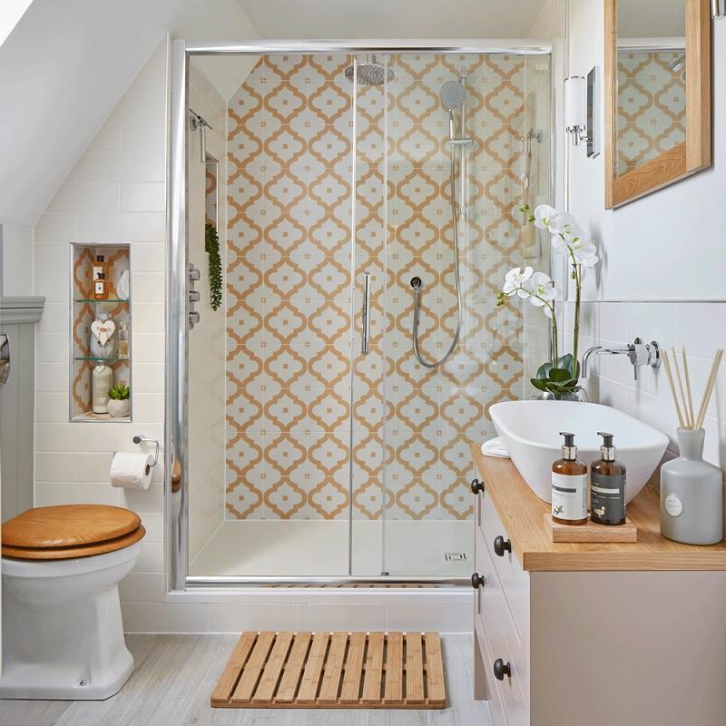 Mẫu phòng tắm với sắc cam tươi mới