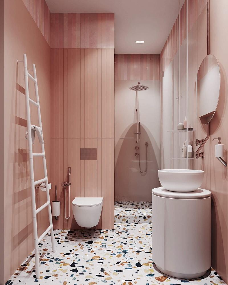 Thông thường phòng tắm của các nàng sẽ mang một màu sắc tươi sáng như màu hồng hay màu trắng