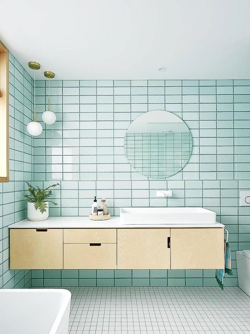 Mẫu phòng tắm với gam màu xanh pastel nhẹ nhàng