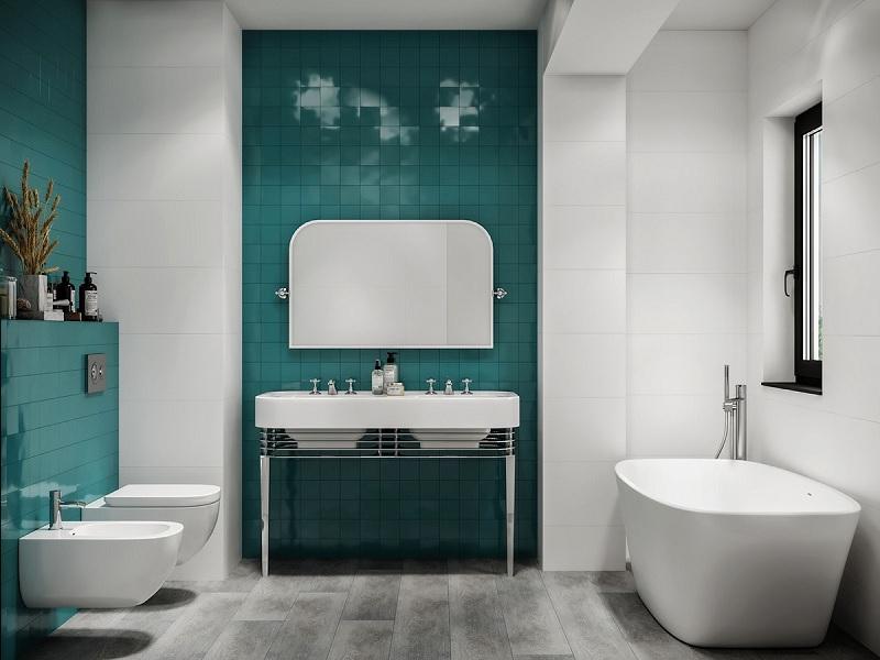 Căn phòng tắm 15m2 đủ cho chủ nhân bố trí lavabo, phòng tắm bằng hoa sen, bòn tắm hay phòng xông hơi.