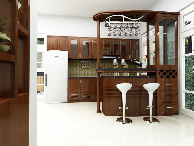 Mẫu nhà bếp đảo bếp cùng quầy bar