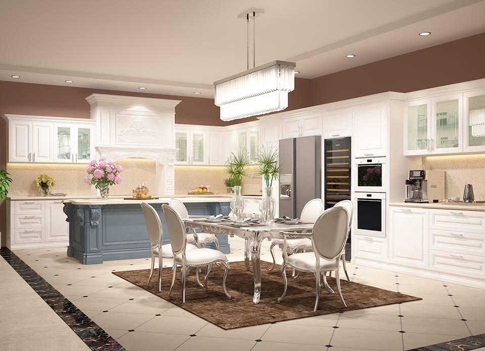 Không gian phòng bếp thiết kế bắt mắt với phong cách tân cổ điển sang trọng