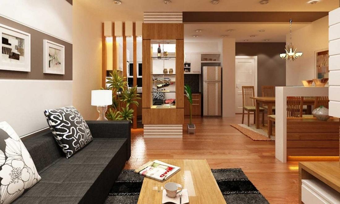Không gian phòng bếp đẹp liền phòng khách