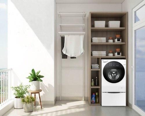 Phòng giặt phơi đẹp được thiết kế tại ban công thoáng mát